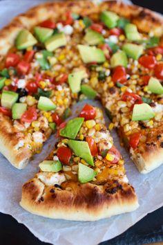 Grilled Corn and Chipotle Pesto Pizza with Queso Fresco