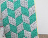 Teal and Grey with Yellow Herringbone Crib Quilt for Baby
