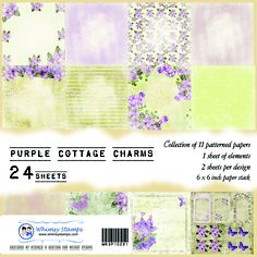 """$9.00 Whimsy Stamps Designer Paper - Purple Cottage Charms.  Each pack of designer paper contains 24 sheets of 6""""x6"""" heavy weight papers. 11 different patterns (2 of each design) and 2 sheets of card making elements per pack.  All Whimsy Designer Papers are acid and lignin free and are FSC certified. Use these papers for card making, scrap booking, and many other crafting projects.  http://www.whimsystamps.com/index.php?main_page=product_info=31_id=2602"""
