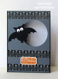 "Cute ""Happy Halloween"" Card ... two step owl punch turned into a bat with googly eyes ... washi tape strips with skulls... bySara Rayner: Sara's Crafting & Stamping Studio ... Stampin' Up!"