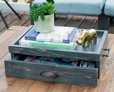 Free DIY Plans to Build a Coffee Table Serving Tray With Drawer | The Design Confidential