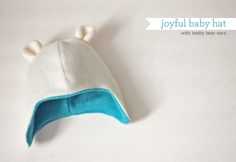 DIY: Joyful baby hat with teddy bear ears – Tutorial and pattern...this is so sweet and doesn't look like it takes too long, love this!