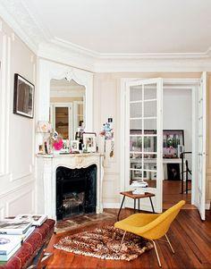 french doors, corner fireplace