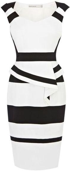 Karen Millen White Colourblock Cotton Peplum Dress
