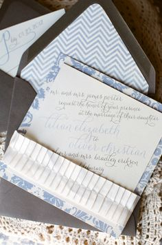Blue and white invitation suite by Announce This Design; shot by Alea Lovely - LOVE THE FONTS!!!!