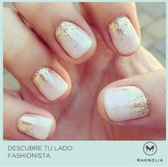white nails gold sparkle