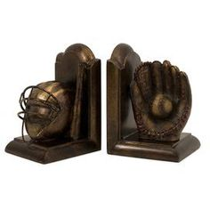 These would be nice for a young boys room or a teen.  Set of two antiqued bookends with a catcher's mitt and mask.         Product: 2 Piece bookend set  Construction: Polyresin and ironColor: Brown and gold   Dimensions:  7&quot H x 5&quot W x 4.25&quot D each