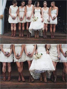 cream bridesmaid dresses + cowboy boots
