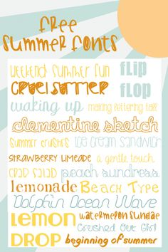Free Summer Fonts for Your Printables & Graphics  ~~ {19 free fonts w/ links}