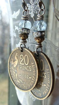 Repurposed Vintage 1952 French Brass Coin and by CobwebPalace,