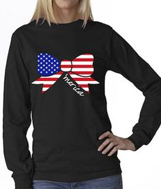 American Flag Bow Long Sleeve T by AmericanGirlStyles on Etsy, $17.00