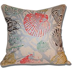Update your home decor with this colorful sea inspired Marlo Lorenz Seashell Pillow. This pillow features a removable, hidden zipper cover and self welt edging details.