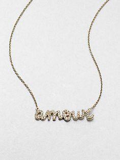 Sydney Evan Diamond Accented Amour Pendant Necklace/14K Gold $1145 #jewelry #love #saks