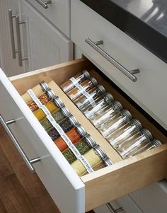 Spice Drawer -- Ina decants her spices into uniform jars. (From The Barefoot Contessa)