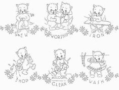 Vintage Embroidery Transfer repo 2937 Seven Busy Kittens for Dish Towels  1950s