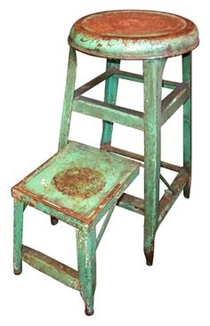 Vintage Green Painted galvanized Stepstool...
