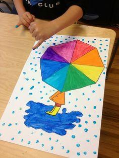 wheel umbrella, craft, art element, art lesson, kid art, color wheels, colour wheel, art projects, april showers