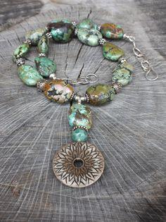 Great Chunky Turquoise Bone Lampwork Pendant by Phishstuff on Etsy, $200.00