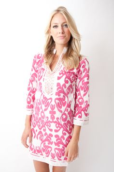 Sheridan French 2013 Gabby Dress in Fluoro Pink Ikat