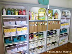 IHeart Organizing:: A well organized craft room, using some thrift store items.