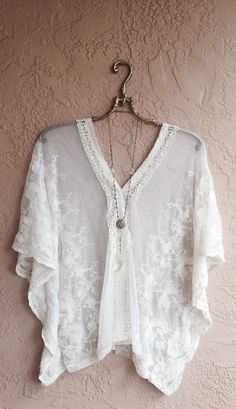 Sheer embroidered floral Bohemian wide sleeve tunic