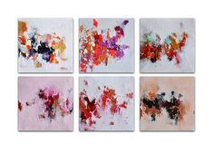 Original Abstract Painting SET of 6, Modern Painting Heavy Textured, Painted Cubes 12x8""