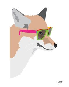 Cute animal art  - Hipster Fox - Colorful art, whimsical art. $20.00, via Etsy.