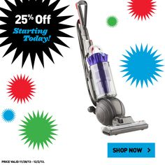 All In-Stock Dyson Floor Care is  25% off through December 2!