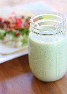 Cafe Rio's Creamy Tomatillo Dressing .  This is EXACTLY like Cafe Rio's Creamy Tomatillo-Cilantro Dressing!  One of the best salad dressings I've ever made!  Would be great on a taco salad!!!