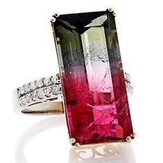 Rarities 15.97ct Watermelon Tourmaline and Diamond 14K Gold Ring