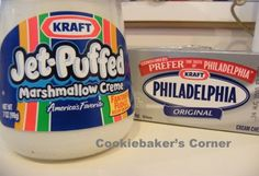 Fruit Dip.  Marshmallow fluff & cream cheese.  Mix them together & ta-da!     Serve with fruit OR use a a frosting on brownies, then cut up strawberries and cover the fruit dip.  It's amazing, trust me.
