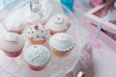Cute Cupcakes from this Romantic Valentine's Day Tea Party - Kara's Party Ideas - The Place for All Things Party #valentinesdaycupcakes #romanticcupcakes #love