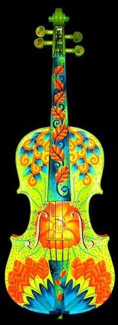 Hand Painted Violin by Elizabeth Elequin