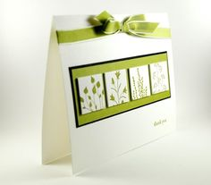 Four Bouquets Of Flowers On This Handmade Thank You Card
