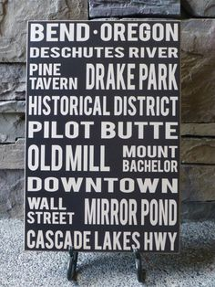I Love  this company!    Bend Oregon Wall Sign by LilBeansLove on Etsy, $25.00 Wall Signs, Beauti Bend, Art, Oregon Bend, Bend Oregon, Central Oregon, Homes, Place, Beauti Oregon