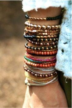 beautiful boho stacked bracelets