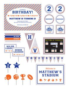 Sports Themed Party Printable Package- Sports Themed Birthday Party- Vintage Sports Themed Party
