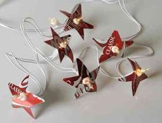 Recycled soda cans made into shapes to put on a string of lights!