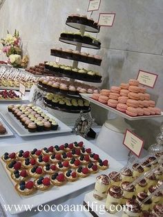 Dessert buffet table idea. I need loads more! I have such a sweet tooth so the dessert is very important haha