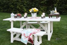 DIY Picnic table - I love it. This site has lots of fun furniture plans.