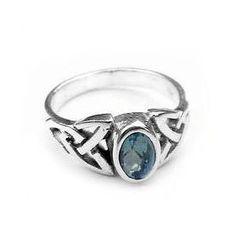 Sterling Silver Blue Topaz Celtic Knot Ring Size 8(Sizes 4,5,6,7,8,9), (celtic jewelry, silver, celtic, jewelry, ring, rings, silver insanity, silver jewelry)