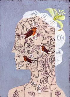 birds in head by Elke Ehninger