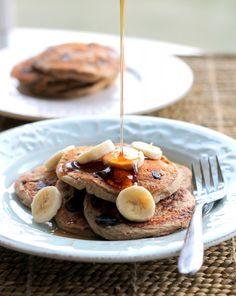 Oatmeal Chocolate Chip Banana Pancakes {healthy, vegan + gluten-free}