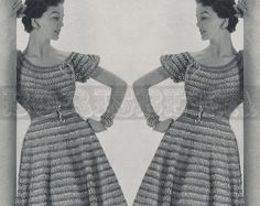vintage BLOUSE SKIRT & belt crochet pattern 50s PDF by borisbeka, $3.75