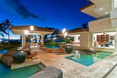 Welcome to a dramatic one-acre, 11,000 square foot estate immersed in the tropical setting of Maui, Hawaii and showcasing a design inspired by the Chinese pavilions and Indonesian decor. Maui, Dreams, Future House, Villas, Tropical Gardens, Luxury Living, Large Families, Hawaii, Lounges Area