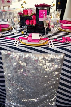 Glitter & Glam for your tablescape…black & white stripes w/pink accents & sequins | Design Indulgences