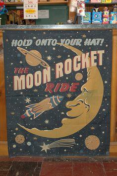 Vintage Moon Rocket Ride Poster