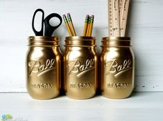 Dorm Decor  Gold Painted Ball Mason Jars  Vase  by BeachBlues, $18.00