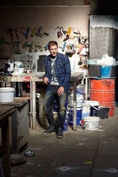 in his studio