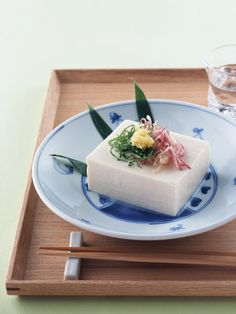 Japanese chilled tofu served with toppings, Hiya-yakko 冷奴